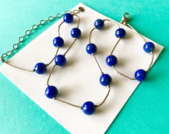 Lapis and Liquid Sterling Necklace