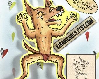 Werewolf Digital Stamp - Monster Digital Stamp - Digistamp - Coloring Pages - Printable Sticker - Clip Art - Printables