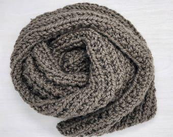 Taupe chunky knit scarf