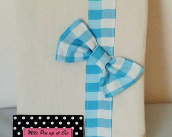Protects health book ecru and customizable turquoise gingham Ribbon