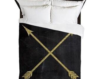 Arrow Bedding, Duvet Cover, Black and Gold, Boho Decor, Arrow Print, Rustic Bedroom Decor, Girls Bedding, Teen Room Decor, Girls Room Decor