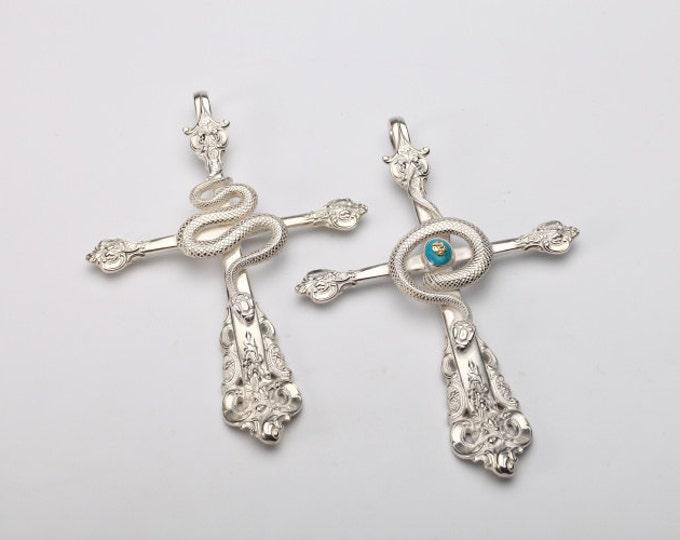 Silver Spoon Pendant | Spoon Jewelry | Silver Snake Pendant | Gothic Cross Pendant | Silver Snake Charm | 18K Gold Rose Flower|Serpent Charm