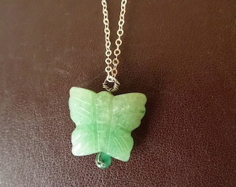 Necklace: green jade Butterfly
