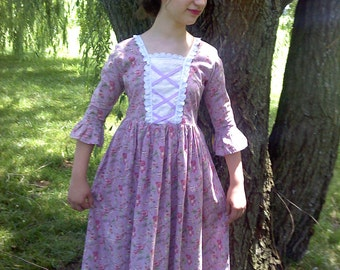 The Colonial Costume Dress ADULT SIZE pattern with FREE Video Tutorial