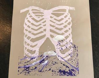 Rib Cage Lino Print