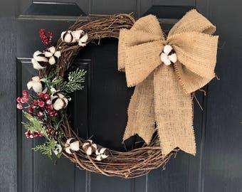 Cotton and burlap christmas wreath