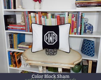 Monogrammed Personalized Color Block Pillow Cover - Lumbar Size 12 x 16