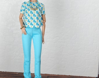 "Aqua blue pants for Fashion Royalty, FR2, Poppy Parker, NuFace, Barbie and other 12"" fashion dolls"