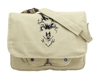 Watching Wolf Embroidered Canvas Messenger Bag