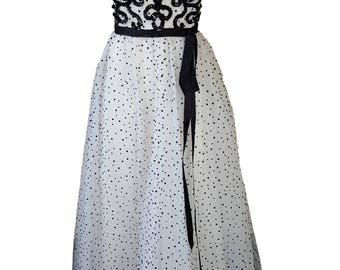 JEAN ALLEN Vintage Black and White Polka Dot Prom Dress (UK 10)
