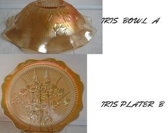Jeannette -Iris & Herringbone Iridescent  Floragold Bowl and Platter-1930