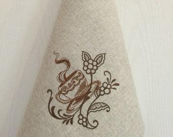 Linen Tea Towel Embroidery Dish Towel Decor Gift Kitchen Guest Hand Towel