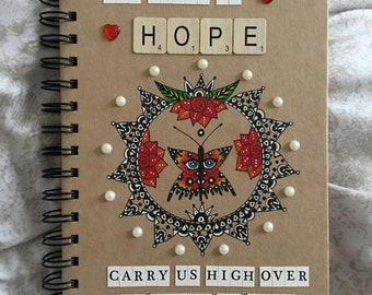 Handmade butterfly quote A5 notebook