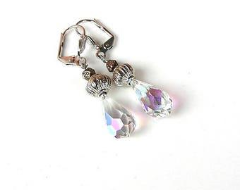 Aurora Borealis Earrings - Rainbow Crystal Drop Earrings - Teardrop Glass - Briolette Crystal Earrings