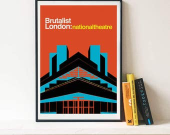 Brutalist London National Theatre Illustrated poster - Matte and Giclee Art Prints in A3 or A2 sizes. Prints of Brutalist Architecture