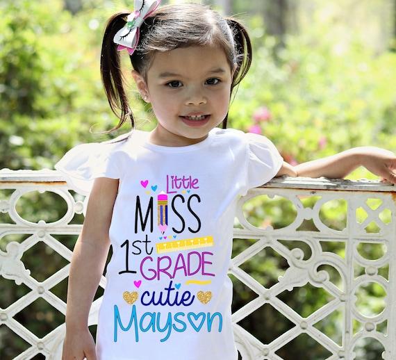 Personalized 1st Grade Cutie Shirt Flutter Sleeve First Grade First Day of School Black Raglan School Shirt Pencil Ruler Shirt Girl