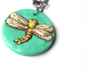 Evergreen Dragonfly Circle polymer clay pendant necklace original art by Cortney Rector Designs