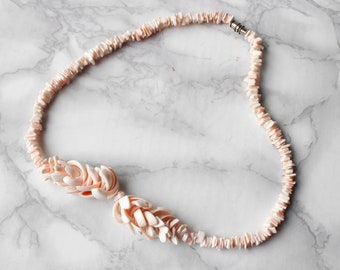80s Vintage Shell Necklace • Boho Hippie Surfer Necklace • Pink Puka Shell Necklace • Beach Necklace • Gifts for Her • Bow Necklace