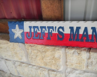 Man Cave, Signs, Carved, Wood, ,Multi Color, Rustic, Reclaimed Wood, Decorative, Permanent, Recognition, Contoured, Scalloped, Made to Order