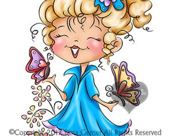 Instant Download Digital Stamp Digi Stamp Bella Butterfly