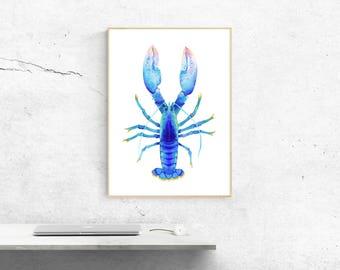 Blue Lobster, Lobster Wall Art, Lobster Print, Ocean Wall Art, Lobster Poster, Lobster Illustration, Ocean Art Poster, Lobster Painting