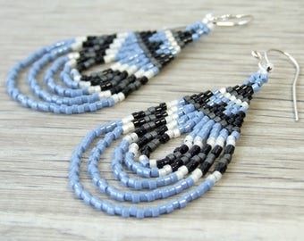 Light Blue Earrings Boho Dangle Earrings Geometric Seed Bead Earrings Bohemian Gifts For Her Sky Blue Earrings Handmade Jewelry Sterling