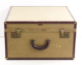 Vintage suitcase, Hartmann Skymate, 1930s luggage, honeymoon travel suitcase, pink lined tan suitcase, decorative storage, stackable storage