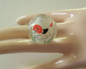 Reverse Painted Glass Dog Bead
