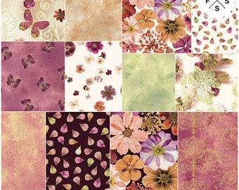 "SALE Fabric Benartex Floral Impressions Rose Plum Precut 10"" Fabric Squares Quilting Cotton Layer Cake"