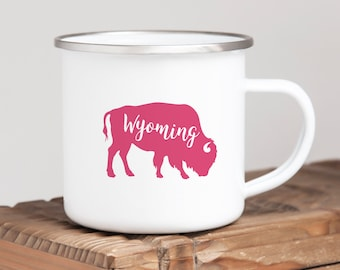Wyoming Mug, Camp Mug, Buffalo Mug, Buffalo Wyoming, Pink Buffalo Mug, Steel Mug, Stainless Steel Mug, Camping Mug, Custom Mug