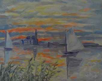 Small Original Oil Painting of Sailboats on the River at Sunset