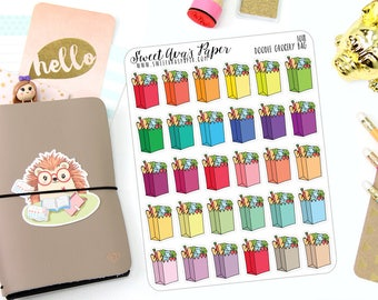 Grocery Planner Stickers - Food Shopping Planner Stickers - Me Time Stickers - Shopping Stickers - Doodle Icon Planner Stickers - 1018