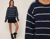 Striped Sweater 80s Knit Grunge Sweater Slouch Hipster 1980s Jumper Navy Blue Vintage Pullover Retro Medium Large