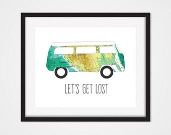 World Map Art Print, Car Print, 'Lets Get Lost' Travel Art 5x7, 8X10, 11x14 Travel Wall Decor, Van Art, Dorm Wall Decor