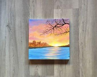 "Tender Sunrise - Luke 1:78a  (12x12"" gallery wrapped canvas)"