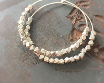 Paris .925 Sterling Silver 1.5 Inch Hoops with Faceted Thai Beads - Large