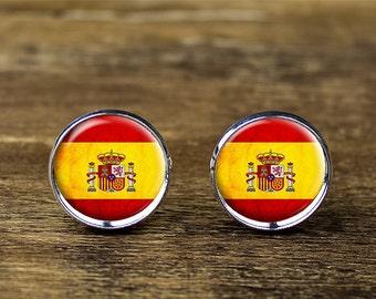 Spanish flag cufflinks, Spain flag cufflinks, Spanish flag jewelry, Spain cufflinks