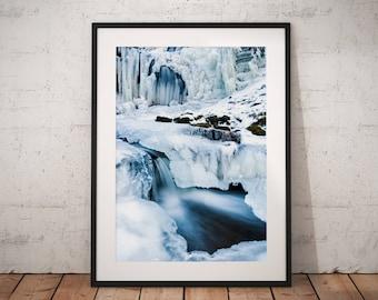 Winter Wonderland Waterfall Landscape Photography, Yorkshire Dales, frozen , Scaleber Falls, England. Photo. Mounted print. Wall Art.