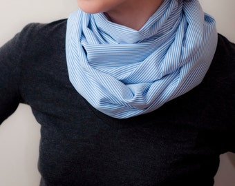 Classic White Blue Stripes Infinity Scarf Preppy Style Circle Scarf Loop Scarf  Men Women Unisex Eternity Scarf Spring Summer Long Scarves