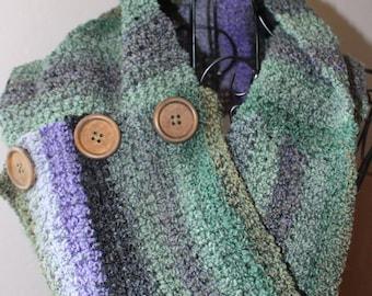 Cowl, Infinity Scarf, Warm Scarf, Purple Scarf, Green Scarf, Fashion Cowl, Crocheted Cowl, Handmade Cowl, Purple and Green, Infinity Cowl