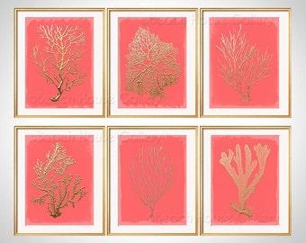 Coral Wall Art, Gold Coral Print Set of 6 Coral Art Prints, Coral Art, Gold Coral, Living Room Art, Gold Artwork, Gold Coral, Bedroom Art