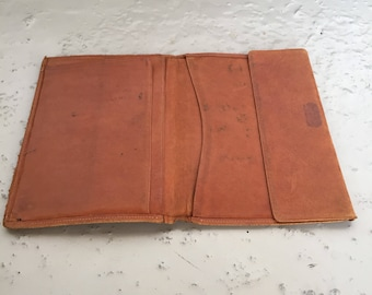 Large type soft leather wallet - tan coloured - 60s Italian business card case - made in Italy