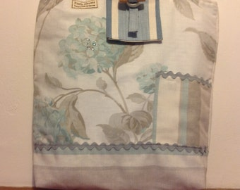 Tote bag using Laura Ashley fabric with rick rack detail & pocket