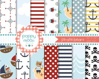 Pirate bears,printable digital paper pack