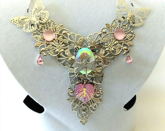 Elven fairy necklace silver and pink