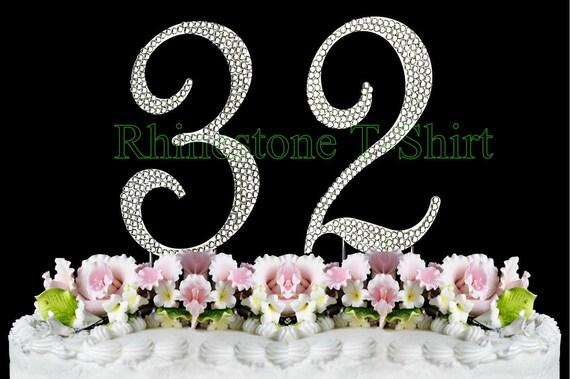 New Large Rhinestone NUMBER 32 Cake Topper 32th Birthday