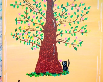 Hand-Painted, Customized Family Tree, Grandparent Gift, Anniversary Gift, Family Tree