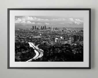 101 Freeway, Hollywood and Downtown Los Angeles, Wall Decor, Instant Download, Home decor, Home decor, Office Wall Art, Fine Art Photograph