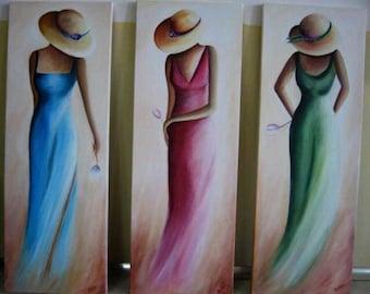 Handmade oil painting on canvas triple table