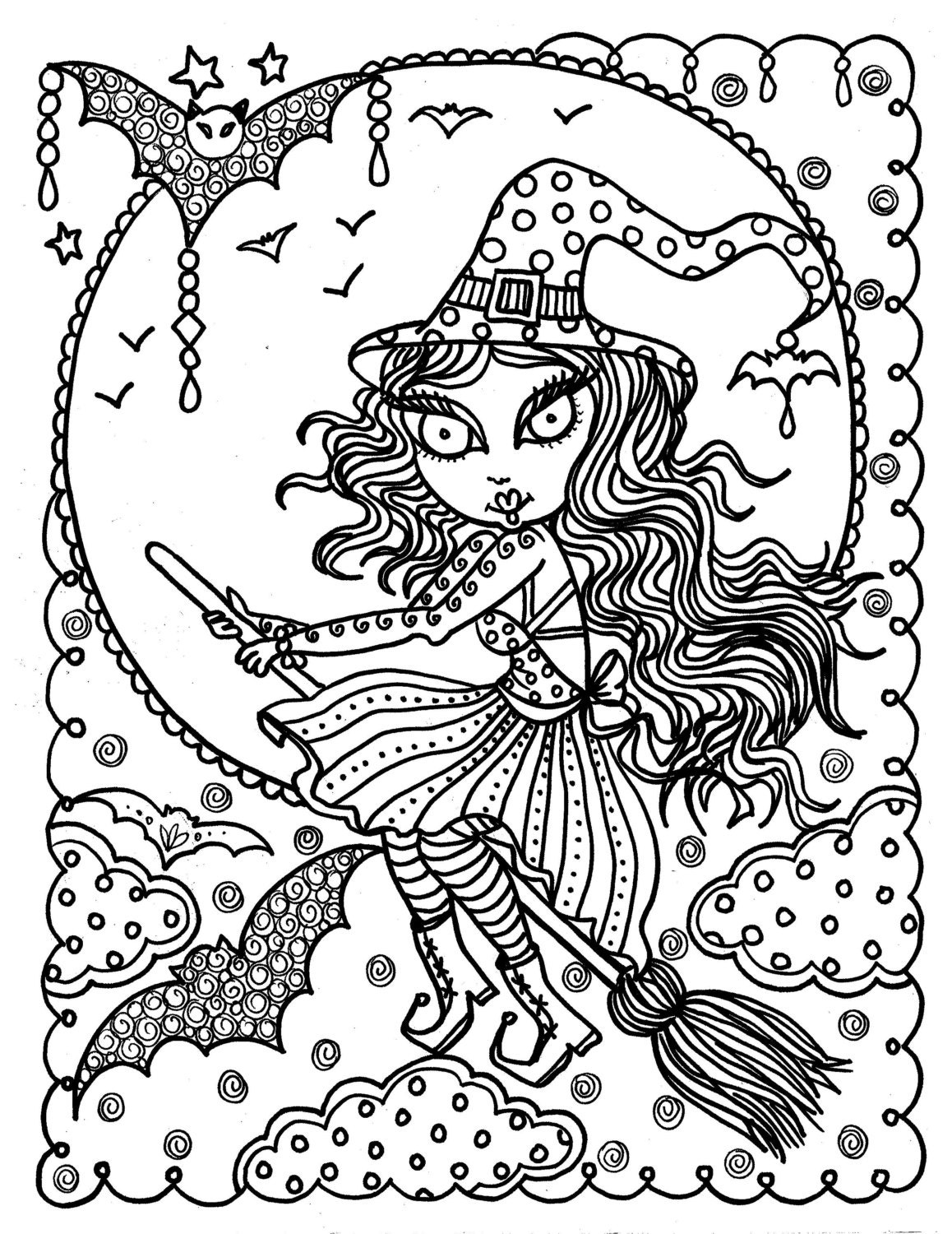 Cute Witch Halloween Coloring Page Fun Instant